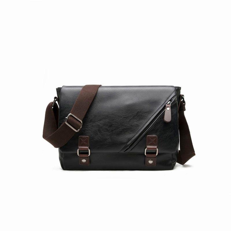 e621e86aacdc Vintage Large Horizontal Black Satchel Bag With Double Belt Casual Mens  Handbag Hot Men Messenger Bag Men Handbag Shoulder Bag Online with   57.49 Piece on ...