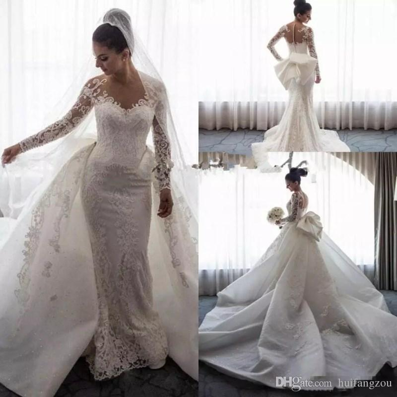 0e53b429a8d4f Charming Plus Size Mermaid Wedding Dress With Removable Train Delicate Lace  Applique Bow Bridal Gowns Long Sleeves Custom Made Wedding Dress Wedding  Dress ...