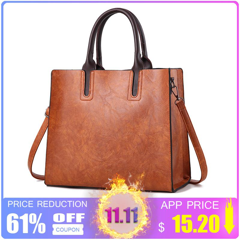 2019 Fashion ZMQN Luxury Brands Bags Womens Leather Handbags Large Capacity  Retro Vintage Hand Top Handle Bags Solid Tote Sac Shoulder C901 Black  Handbags ... db19262620abd