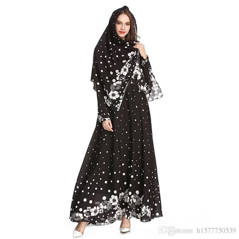 Compre Mujeres De Moda Musulmán Delgado Vestido Turquía Abaya Dubai ...