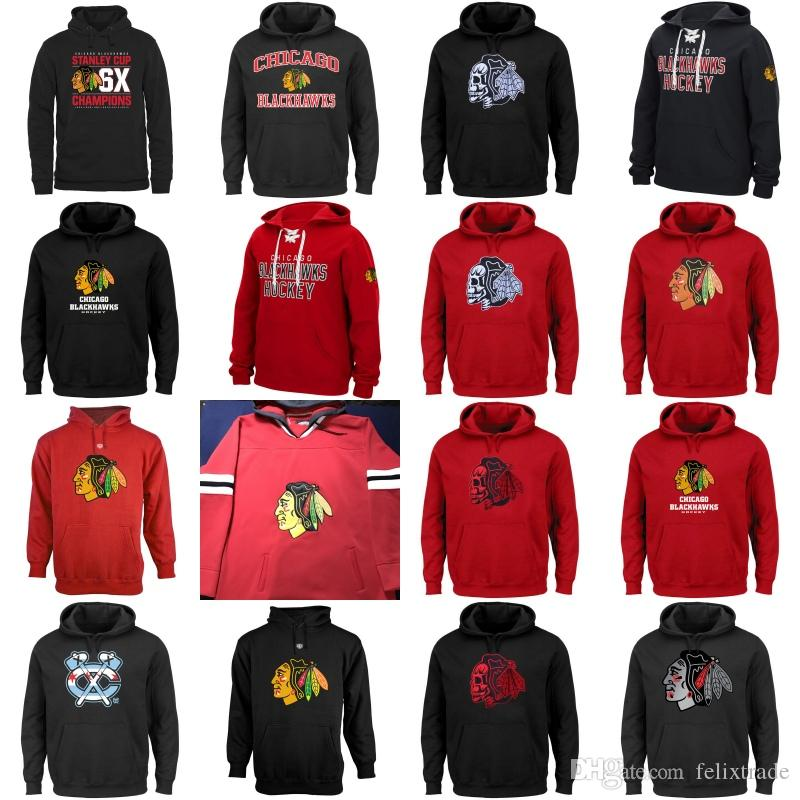 half off 6aa48 7ded7 Chicago Blackhawks Hockey Hoodies Sweatshirts Skull Head Pull Over All  Stiched Embroider Logo Hoodie For Men Women Youth