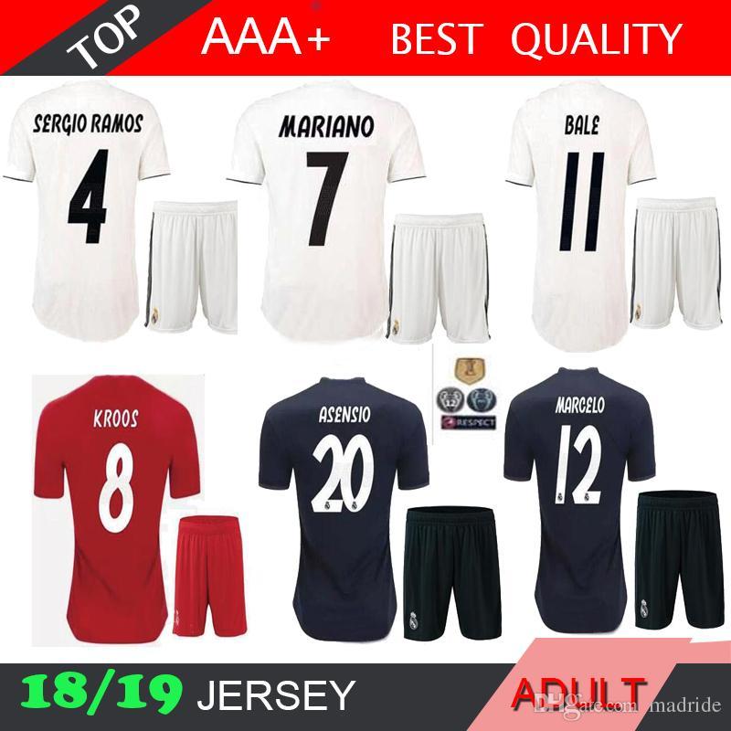 9a8b70ca9 18 19 Real Madrid ASENSIO soccer jerseys adult MARIANO MARCELO 2018 2019  RONALDO BALE ISCO RAMOS football shirts home away 3rd men's kits