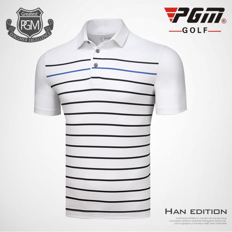 fb0e911a PGM Men Golf Polo Shirts Spring Summer Men's Short Sleeve Striped T ...