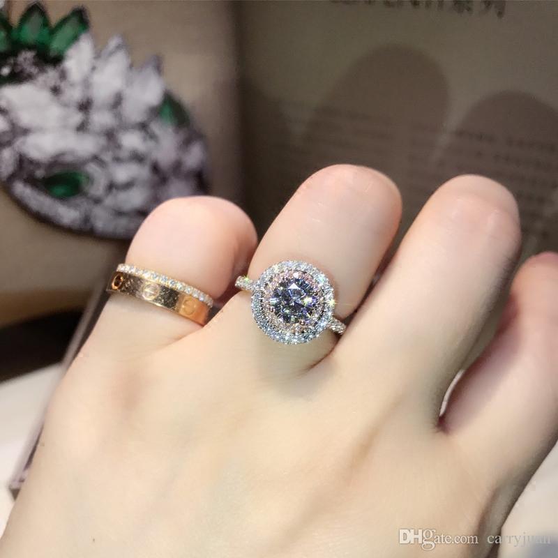 Victoria Wieck Handgefertigte Luxus Schmuck 925 Sterling Silber Rundschnitt PinkWeiß Saphir CZ Diamant Edelsteine Farbe Frauen Ehering Ring