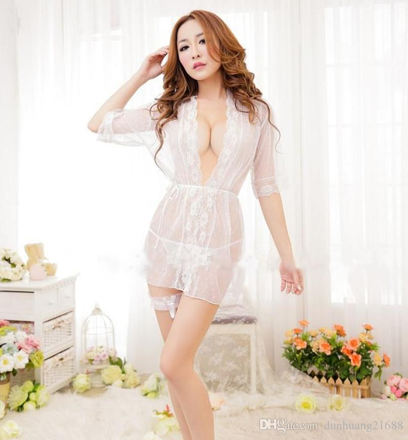 2b1d50a58d 2019 Summer Lace Patchwork Net Yarn Kimono Robe Sexy Sleepwear Lingerie  Chemises Women Nightgown Transparent Wedding Bridesmaid Robes From  Dunhuang21688