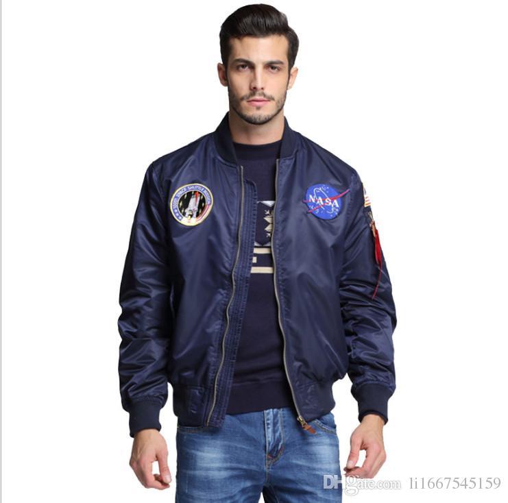 dea658f2a Compre Nueva Ropa De Hombre Primavera Otoño Delgado NASA Navy Chaqueta  Voladora Hombre Varsity American College Bomber Flight Jacket Para Hombres  A $20.3 ...