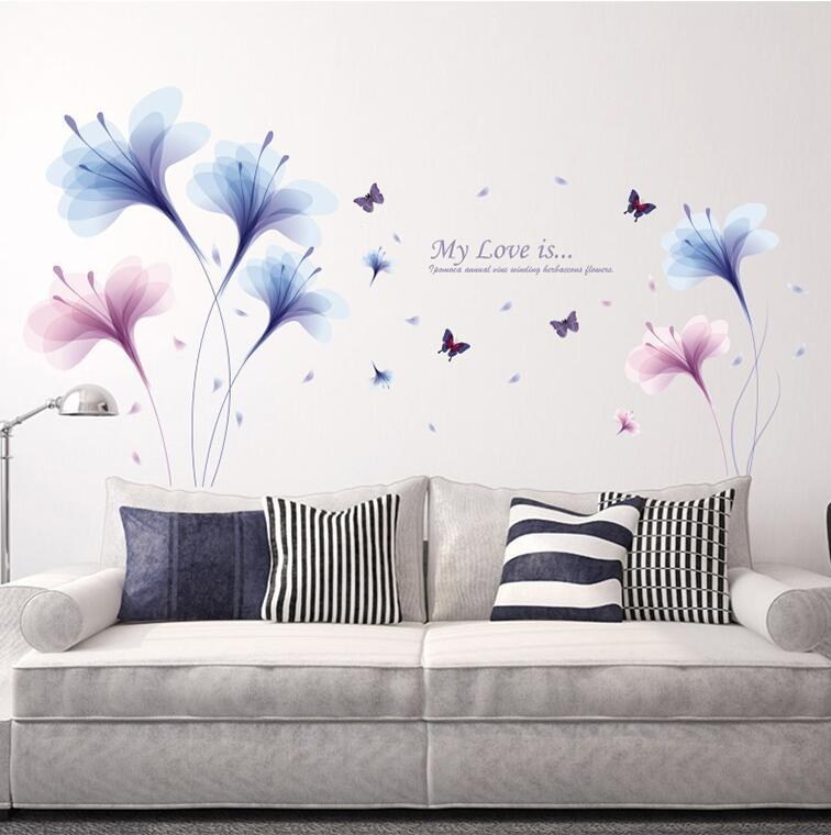 Purple Dream Flower Wall Stickers Living room sofa TV wall decoration  bedroom bedside romantic wallpaper Flower mural