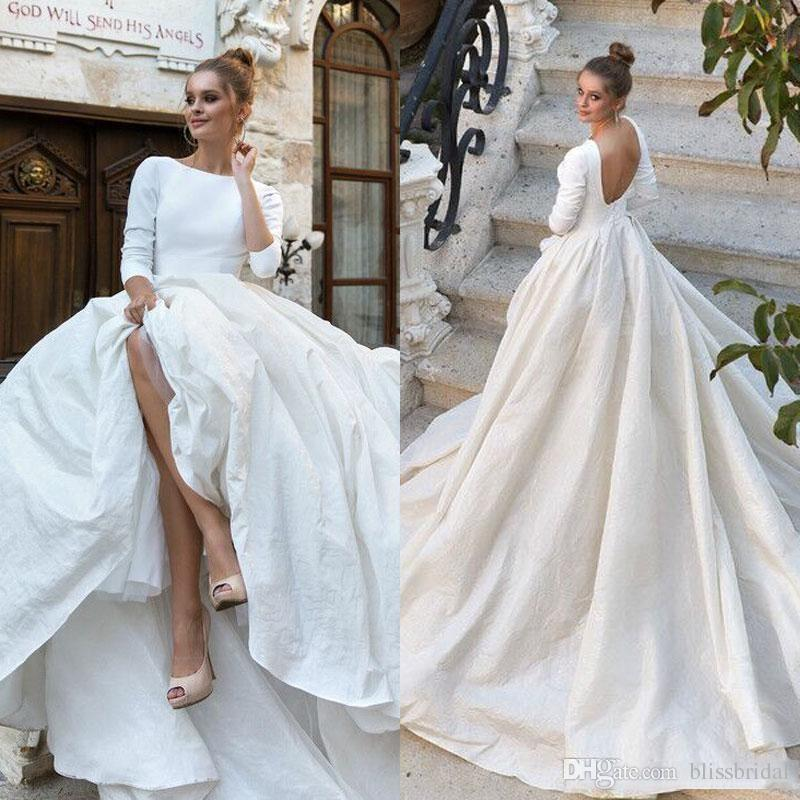 2018 New Simple Satin Ball Gown Wedding Dresses 34 Long Sleeves ...