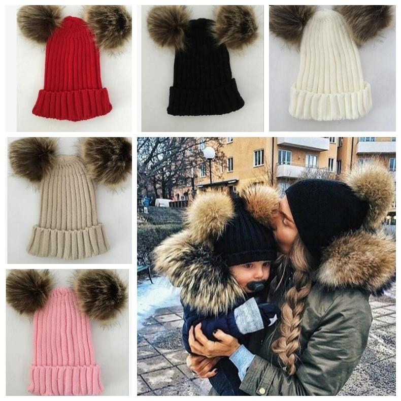 e89476c629590c Baby Family Matching Hat Double Ball Child Woman Hats Keep Warm Winter Knit  Beanie Mom Baby Pompom Hat KKA6203 Newborn Hats Knit Beanie From ...