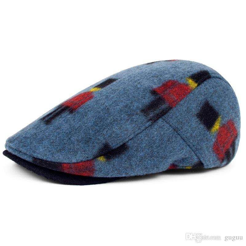 autumn winter wool campaniform unisex fashion peaked caps hats yellow blue British style handsome boinas beret for women men sir ladies