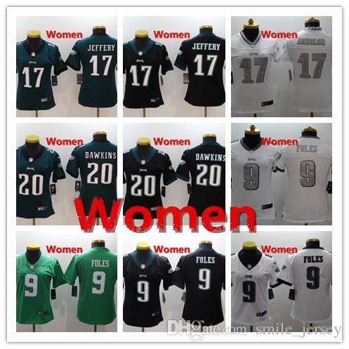 new style 078da 1af71 Women 9 Nick Foles Philadelphia Jersey Eagles Football Jersey Stitched  Embroidery 17 Alshon Jeffery 20 Brian Dawkins Football Women Jersey