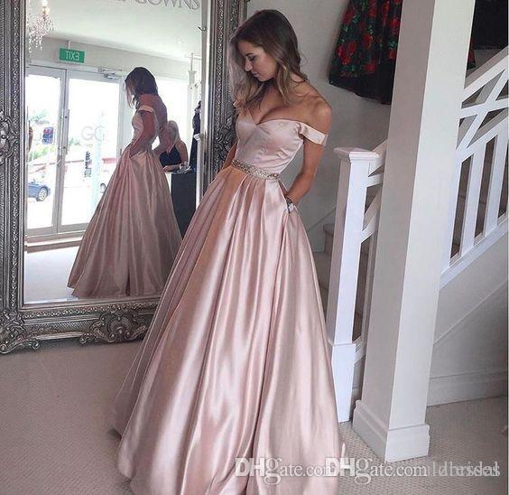 2018 Pearl Pink Prom Dresses f The Shoulder Puffy With Beading