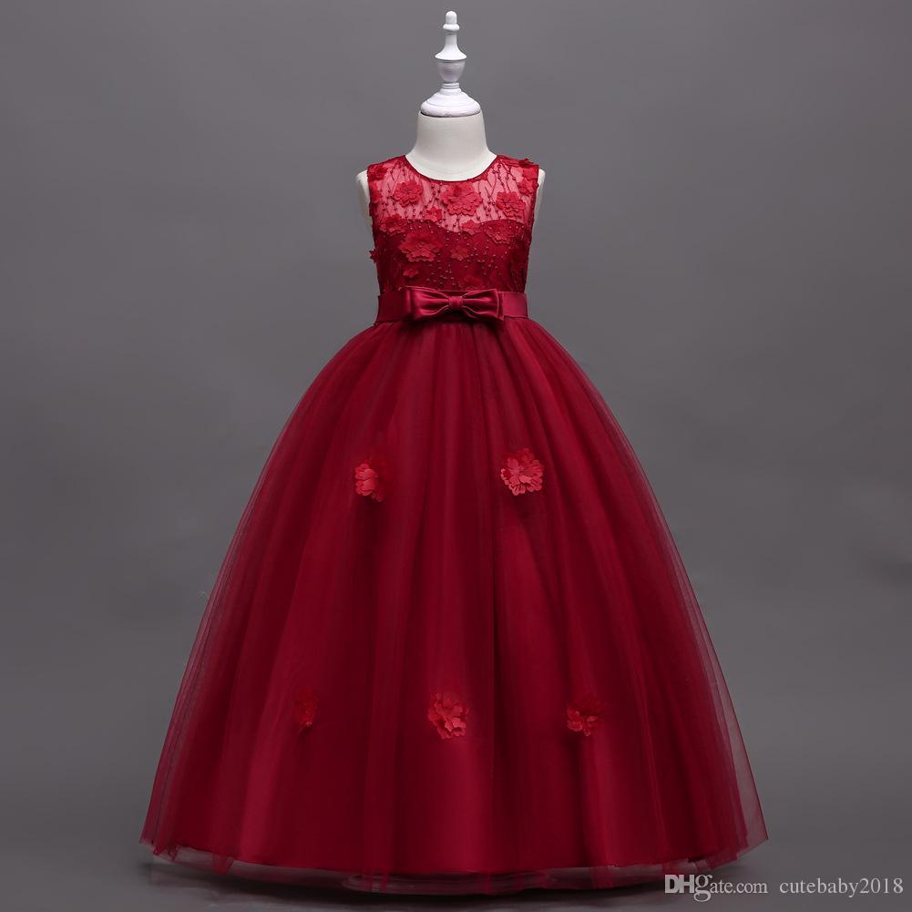 Großhandel Designer Appliqued Bow Brautkleider Für Mädchen Bead Piano  Costume Ballkleider Kinder Kleider Sleeveless Knöchellänge Mädchen  Abendkleider