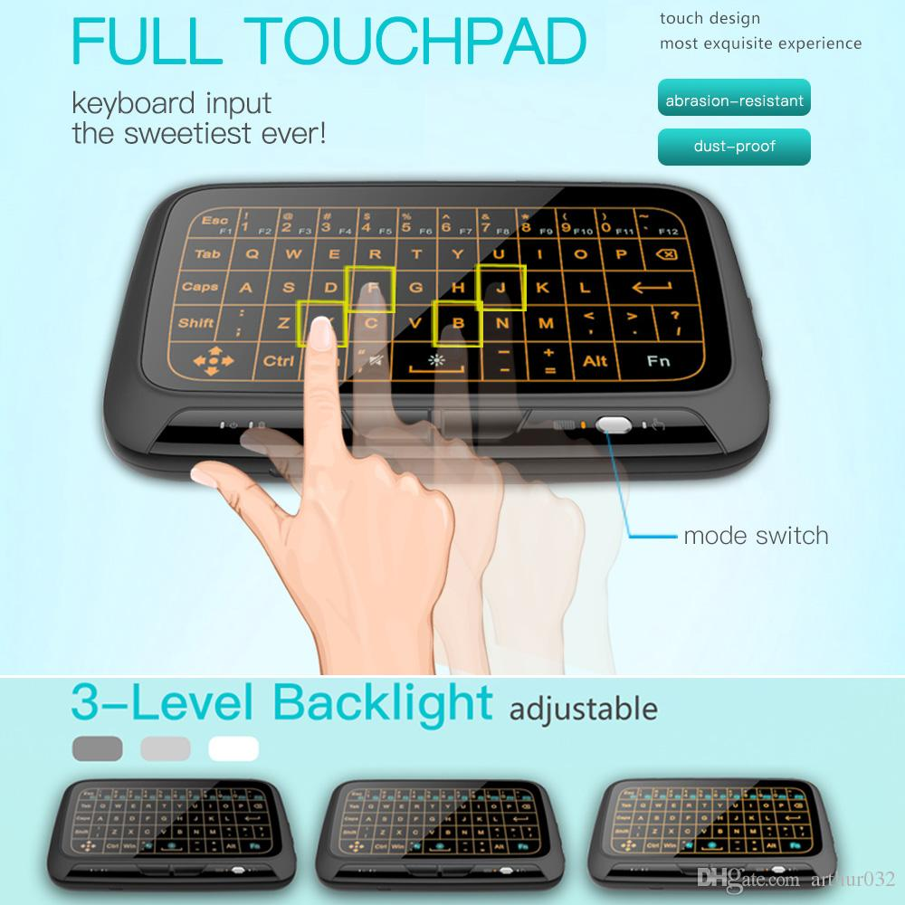 H18 + Retroiluminado Sem Fio Mini Teclado H18 2.4 Ghz Fly Air Mouse Tela Cheia Touchpad Combo Controle Remoto Backlight para PC Android TV Box