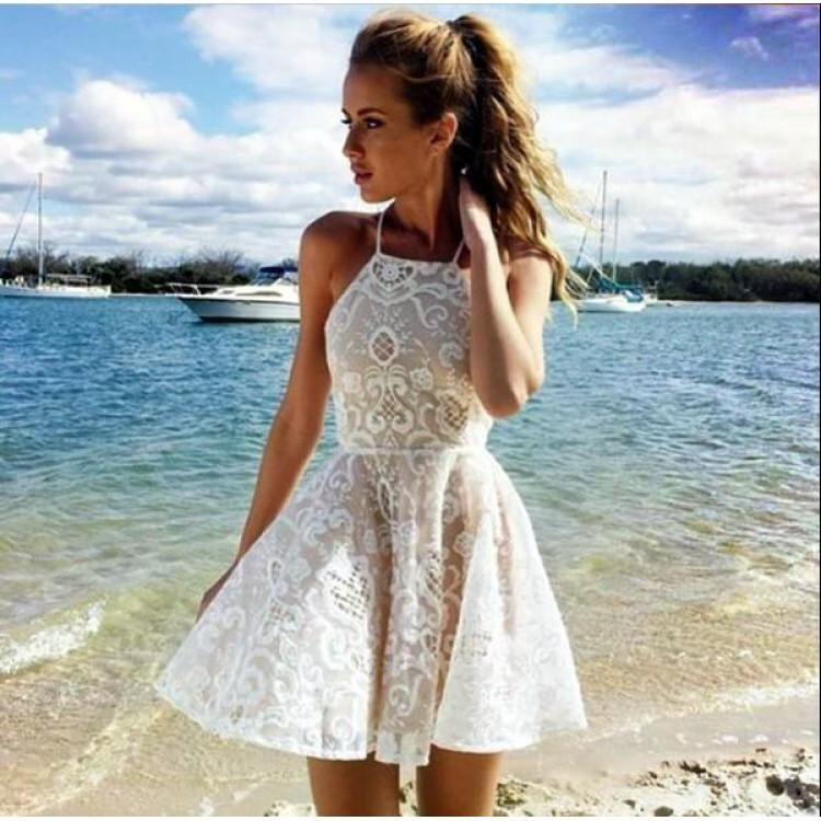 f18141418148 Sleeveless Halter Dress Short Skirt 2018 Summer New Pattern Dress Casual  White Lace Dress White Dress With Flowers From Xsy5856304