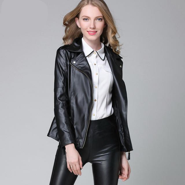 14cabee8be96 Elegant Spring Autumn Leather Jacket Basic New Women Short PU ...