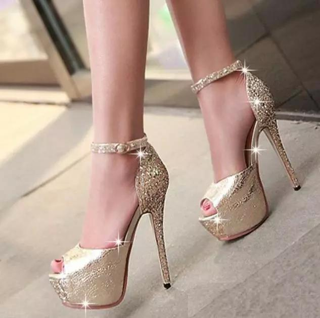 b22c58476fc6 Glitter Sequined Ankle Strap High Platform Peep Toe Pumps Party Prom Gown  Wedding Shoes Women Sexy High Heels Size 34 To 39 Footwear Bass Shoes From  Shenian ...