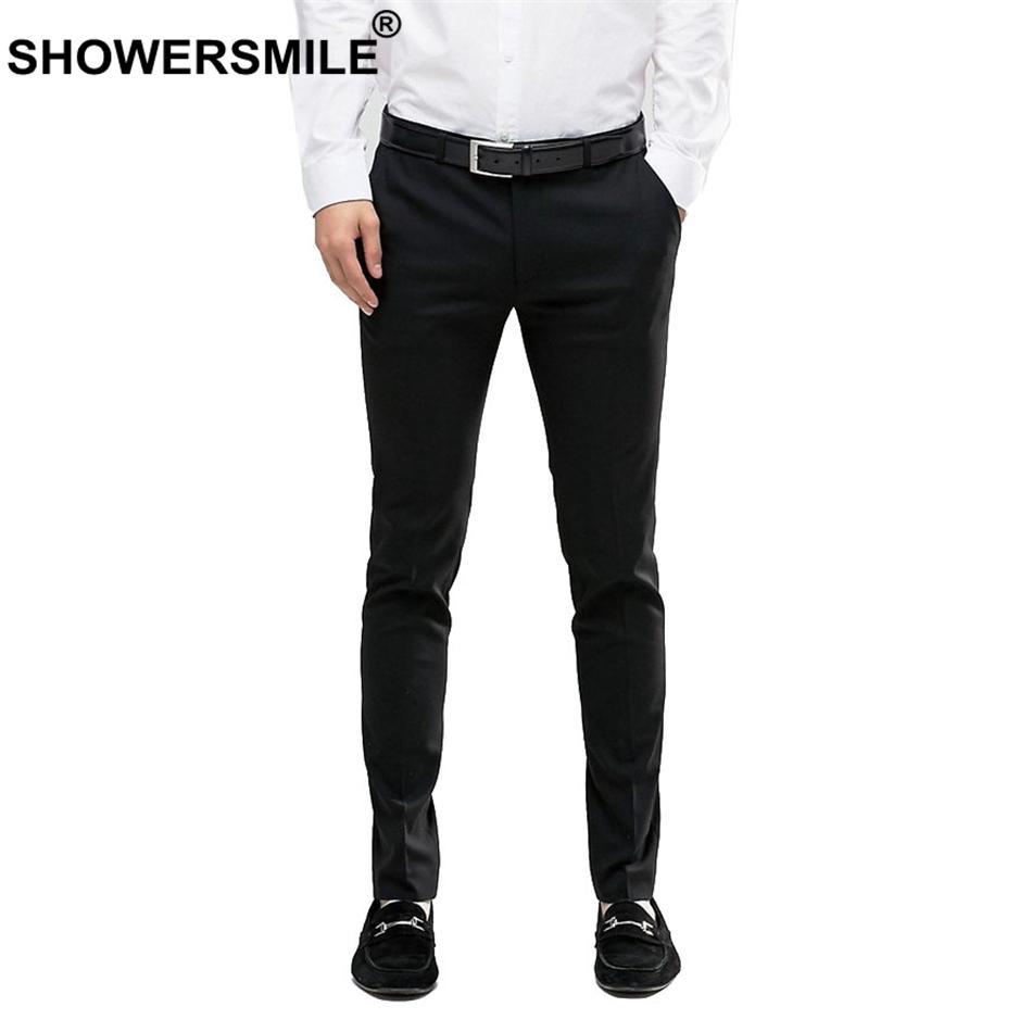 08a6e640f7 Compre SHOWERSMILE Slim Fit Pantalones Para Hombres Más El Tamaño Del Vestido  Negro Pantalones Elásticos Del Resorte Del Otoño Del Vestido Pantalones  Moda ...