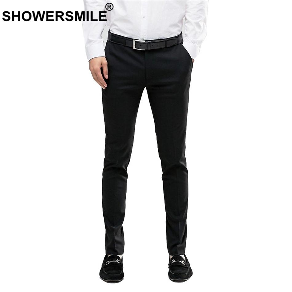 2019 SHOWERSMILE Slim Fit Pants For Men Plus Size Black Dress Pants ...