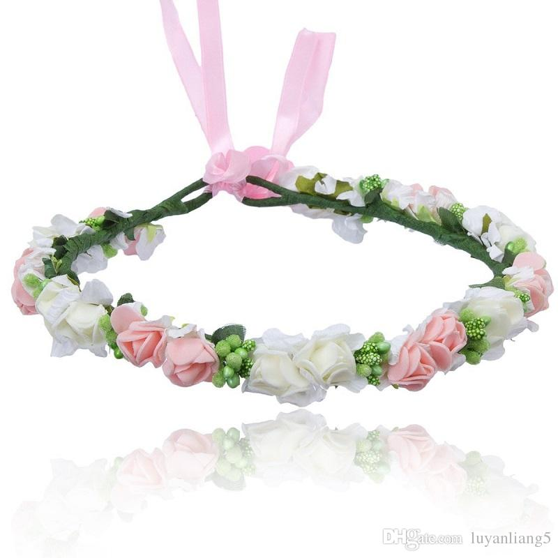 Fashion Pink Flower Crown Wedding Sposa Corona Corolla 2018 Hot Bohemia Red Diademi Accessori per capelli Fascia per capelli regalo donna ragazza gioielli