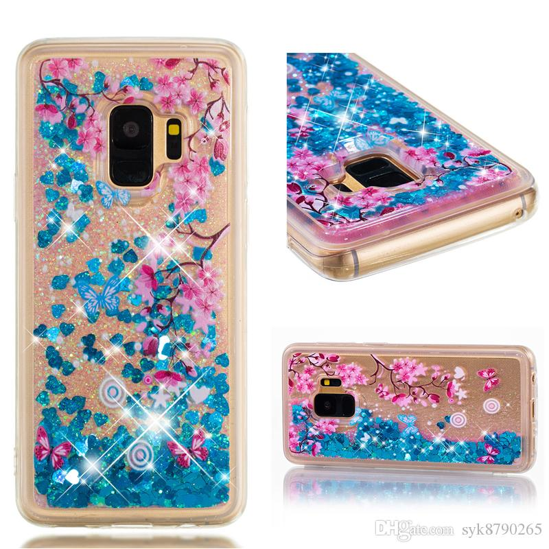 5be38df6414 Forros Para Celulares Moda Dynamic Quicksand Carcasa Líquida Para Samsung  Galaxy S5 S6 S7 S8 S9 Plus Bling Glitter Funda De Silicona TPU Suave  Personaliza ...