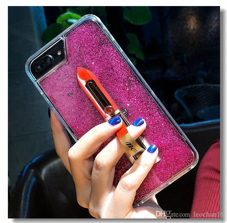 3D Lipstick Bracket Shell Bling Liquid Quicksand Cosmetic Back Cover Stylish Makeup Case with Finger Holder for iPhone X 4.7 5.5
