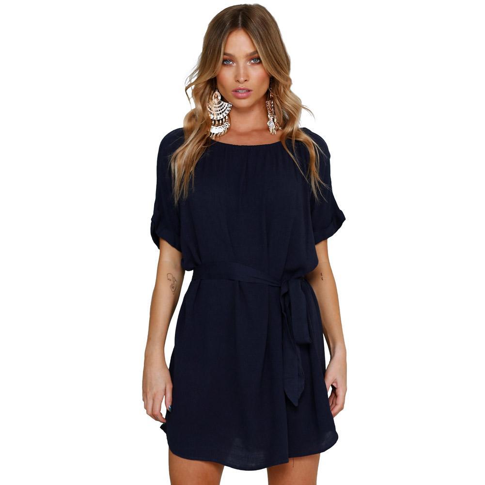 f2707795808f1 Compre Verano 2018 Camisa Vestido Azul Marino Cuello Redondo Casual Chic  Corto Vestido De Gasa Con Cinturón Vestidos Sueltos Túnica Femme Lc220270 A   23.56 ...