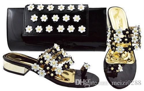 Flores Diseño Bajo Zapatos De Negros Con Compre Tacón xwpqYC00