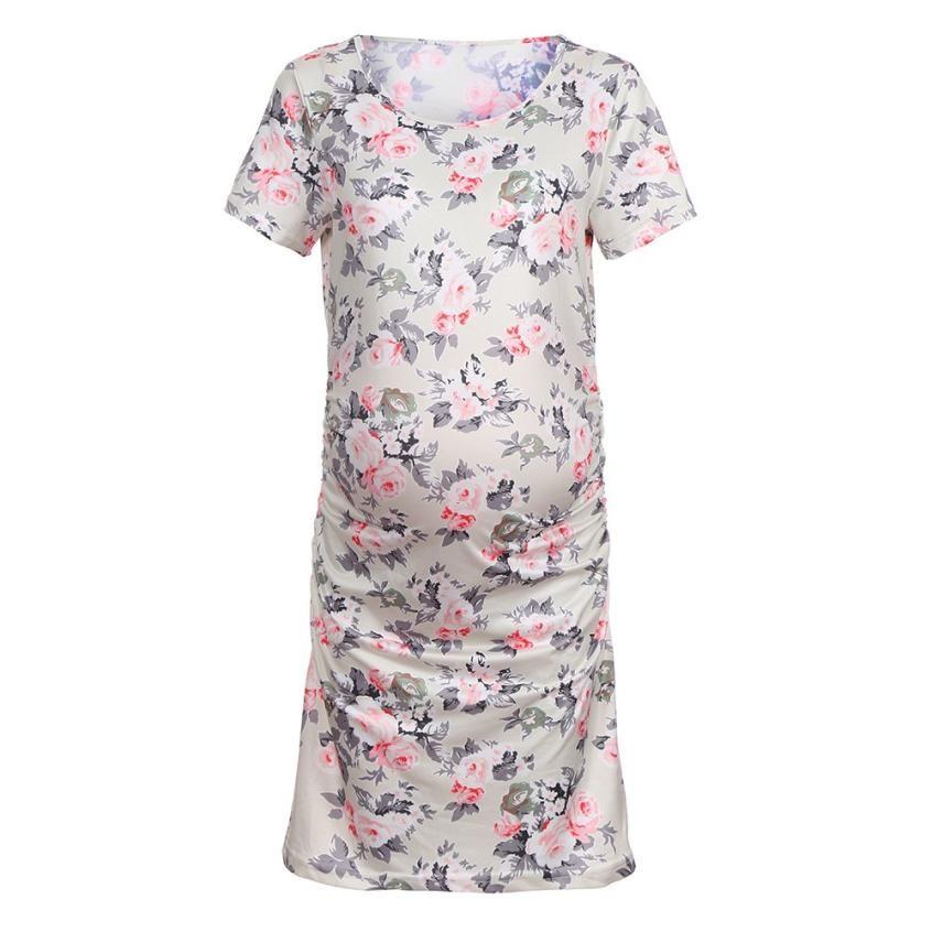 2a178c6188 2019 BMF TELOTUNY Maternity Clothings Women S Pregnancy Floral Print Dress  Maternity Short Sleeve Sundress Clothing Au8 From Paradise02