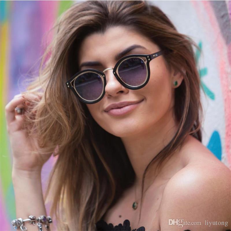 22466cfb42 2018 Retro Round Sunglasses Women Vintage Gradient Ladies Cat S Eye  Sunglasses Brand Designer Female Oculos High Fashion Eyewear Men Cheap  Eyeglasses ...