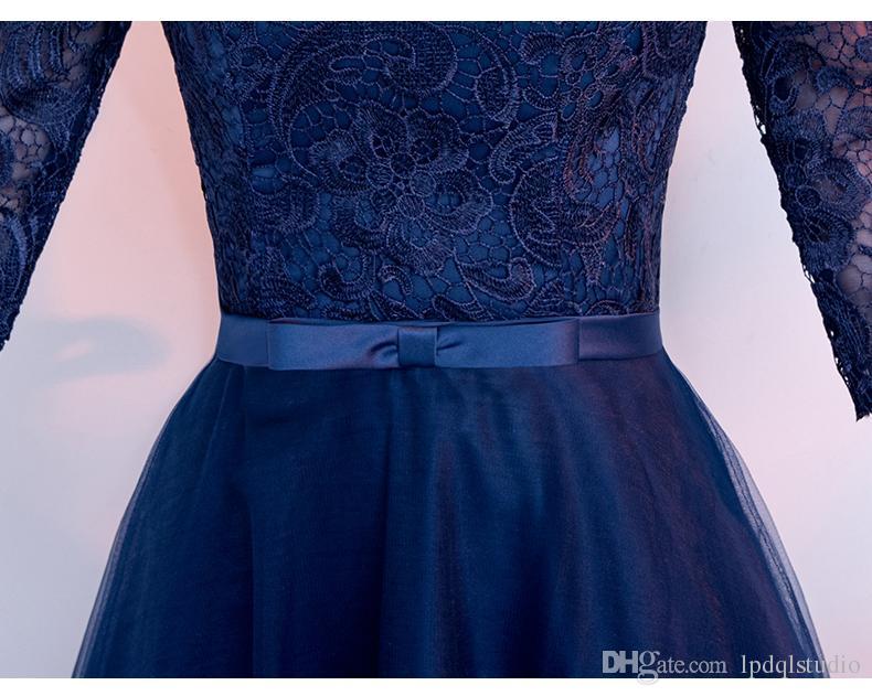 Elegantes Marineblau Abendkleid Liebsten Halbarm Falten Tüll Spitze Prom Kleider Schnür-Zipper Zurück Plus Size Abendkleider