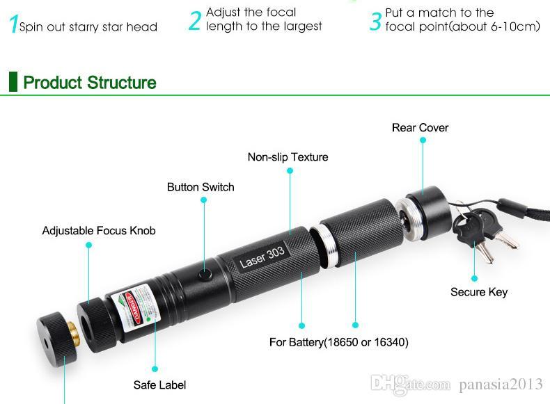 Neue Laserpointer 303 Grüner Laserpointer 532nm Einstellbarer Fokus Akku und Ladegerät EU US VC081 0.5W SYSR