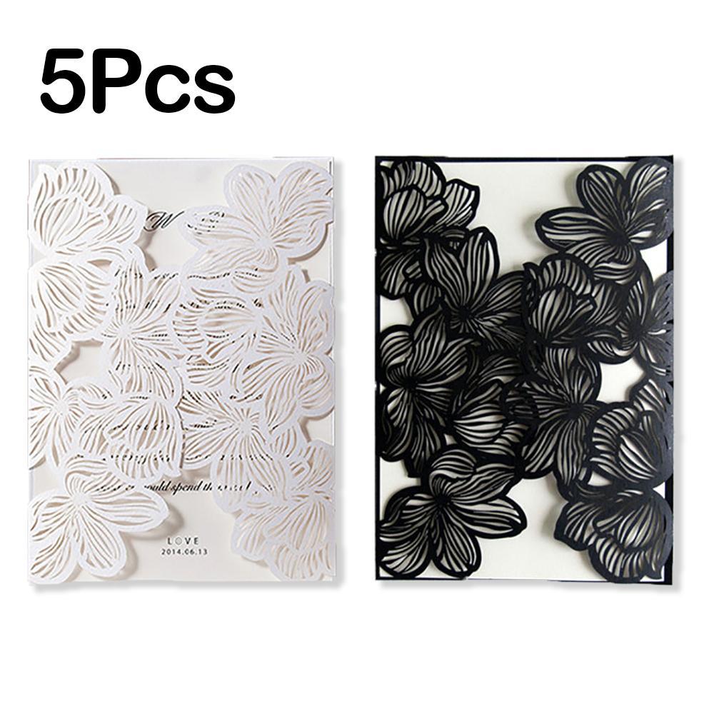 Design Fold Flower Lace Print Laser Wedding Invitations Blank ...