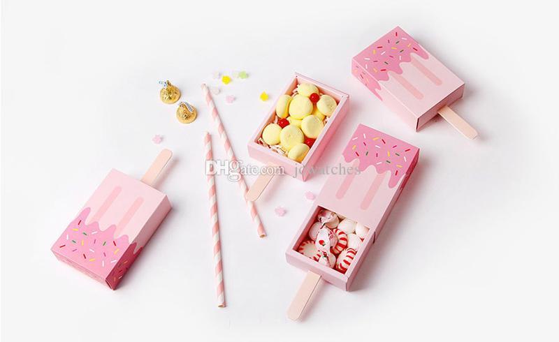 Dondurma Şekli Hediye Kutuları Bebek Duş Doğum Günü Partisi Şeker Kutusu Karikatür Çekmece Hediye Çantası Çocuklar için Parti Iyilik Kutusu