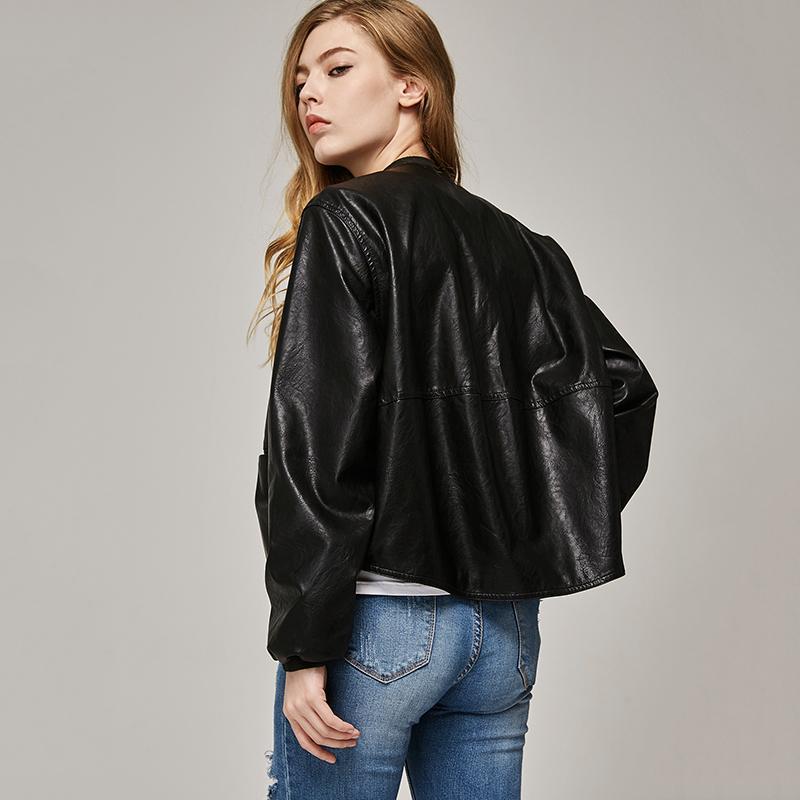 2017 autunno giacca in pelle da donna casual manica lunga pulsante cappotto sottile moda PU bomber in pelle giacca Femininas