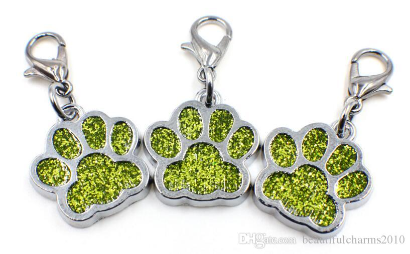 Bling dog bear paw footprint with lobster clasp hang pendant charms fit for diy keychains necklace fashion jewelrys
