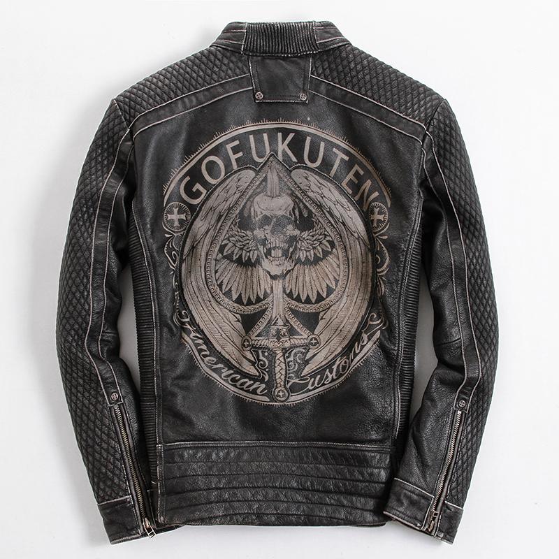 f2418913b7d 2019 2018 Vintage Black Men Skull Leather Motorcycle Jacket Plus Size 4XL  Genuine Cowhide Russian Biker Leather Coat From Watch2013