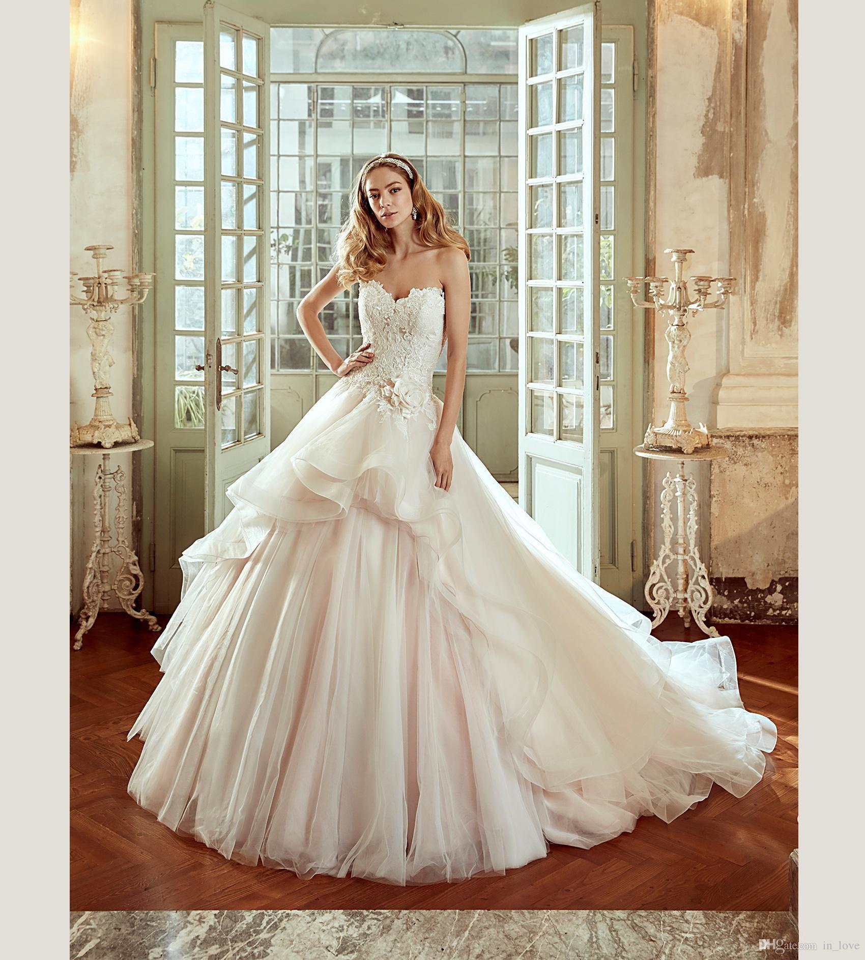 Abnehmbarer Rock Hochzeitskleid Schatz handgemachte Blume Spitze Tüll kurze vordere lange hintere Brautkleider nach Maß