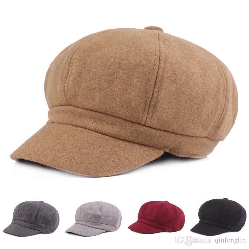 Compre Sombrero De Mujer De Invierno Señoras Planas Niñas Sombrero De  Vendedor De Periódicos Sólido Gorro De Boina De Invierno Para Mujer Artista  Negro ... f78ccf8d1606