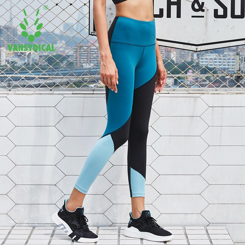 620aa50e5c 2019 Vansydical Women Skinny Yoga Pants Compression Running Tights Gym  Stretchy Pants Fitness Workout Sports Leggings Spliced Colors From  Superfeel, ...