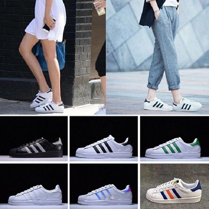 newest 5e1ee d41cb Compre 2016 Adidas Superstar 80s Running Shoes Originales Sup Holograma  Blanco Iridiscente Junior Supe 80s Pride Sne Super Star Mujeres Hombres  Deportes ...