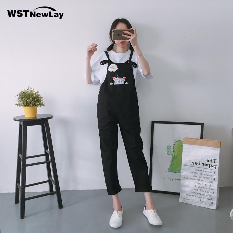 2018 spring embroidery cotton women jumpsuit cartoon cat pocket overalls moveable strap rompers 2018 hot sale candy color piece pants from avive