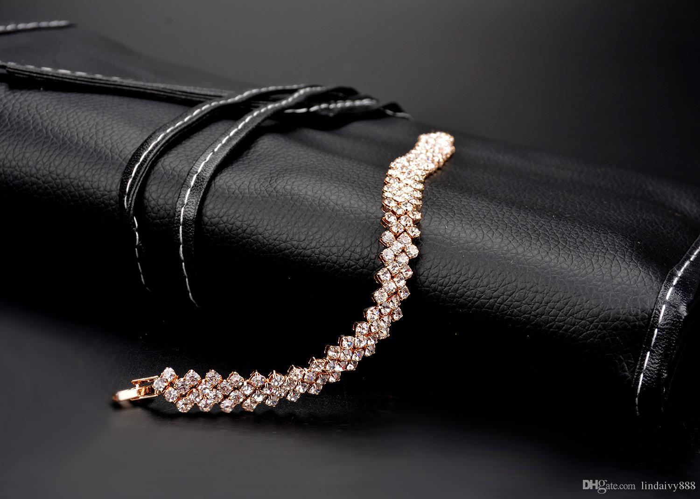 Nouvelle arrivée Shinning Marquise Cubic Zirconia Crystal bracelet Bridal CZ Mariage Zircon Tennis Bracelets pour les femmes bijoux cadeau en gros
