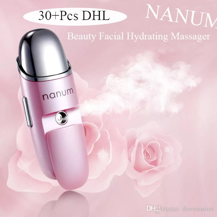 Nanum Multifunction Face Water Steamer Mist Moisturizing Mini Beauty Facial Vibration Massager Ultrasounic Therapy Skin Humidifier