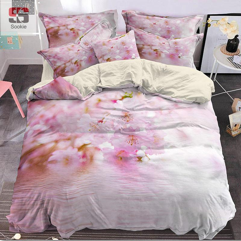 Sookie Pink Sakura Bedding Set 3d Digital Print Duvet Cover Pillowcases Bed  Linen Beautiful Bed Covers Sheets And Bedding Clearance Duvet Covers From  ...