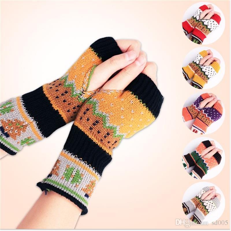2018 christmas fingerless glove women fashion accessories wool yarn knitted mittens warmer winter deer elk pattern print adult gloves 4 5xq bb from sd005