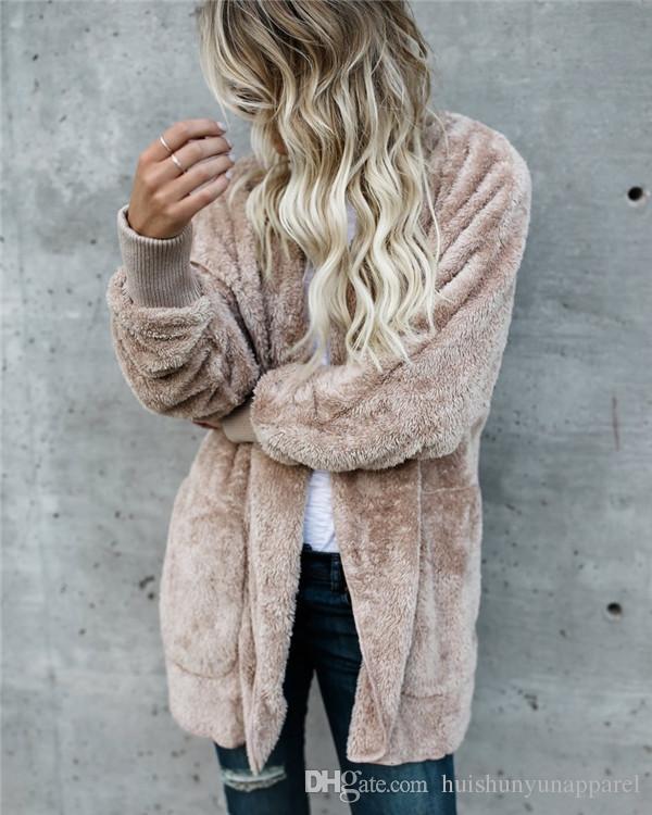 Women's Faux Fur Fashion Coat Hooded Two Side Wear Winter Streetwear Coat Women Warm and Comfort Overcoat