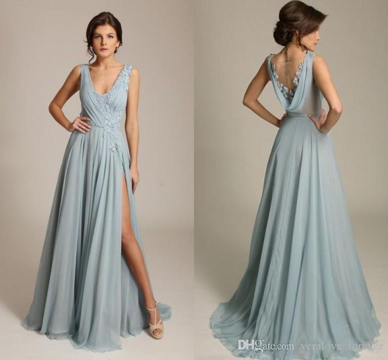 Gorgoues Dusty Blue Evening Dresses V Neck Chiffon Raped Back High ...