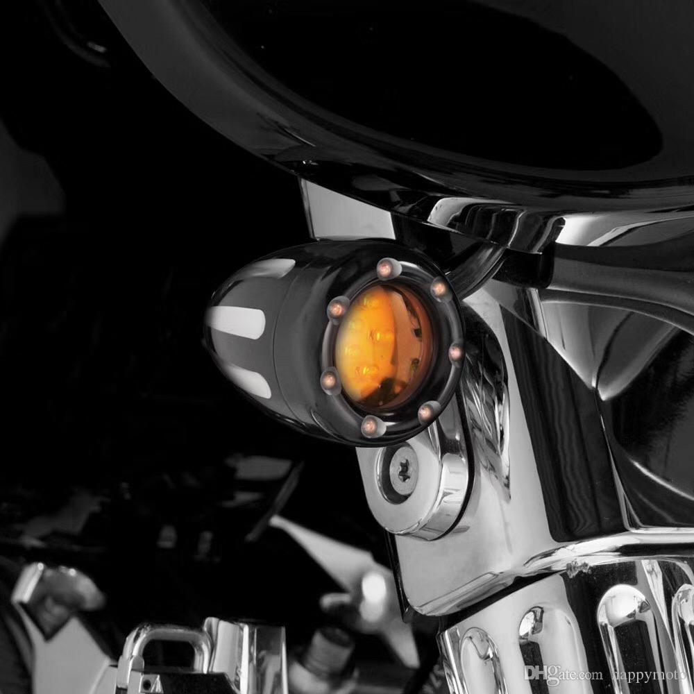 Motorcycle parts Black Metal Amber Leds Front Back Turn Signal Light For Harley Touring ,Dyna, Softail , Sportster