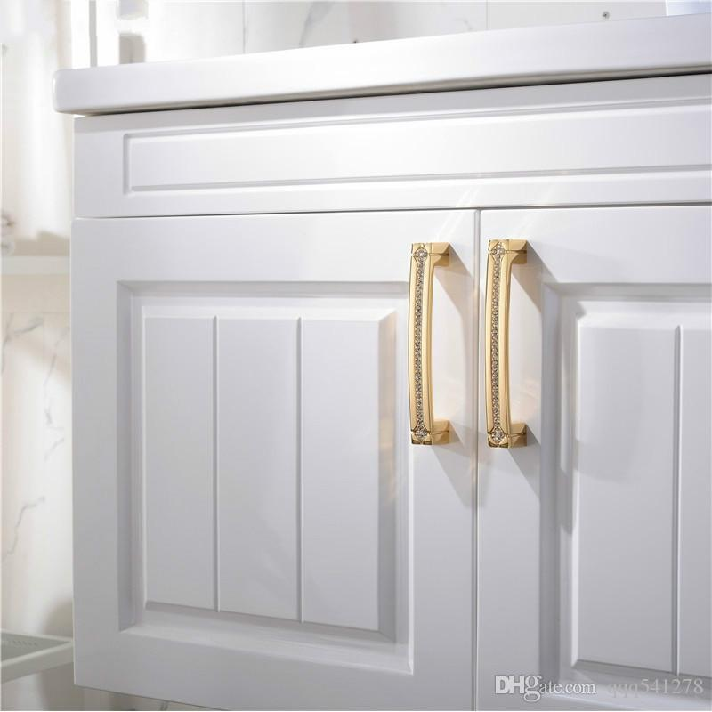 Cabinet Knobs 24K Real Gold Czech Crystal Drawer Door Handle Furniture Knobs Pull Handles Never Fade Gold & Chrome